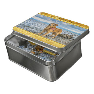 Golden Retriever standing on the blue ocean rocky Jigsaw Puzzle