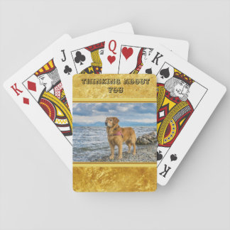 Golden Retriever standing on the blue ocean rocky Playing Cards