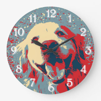 Golden Retriever Stylized Drawing Large Clock