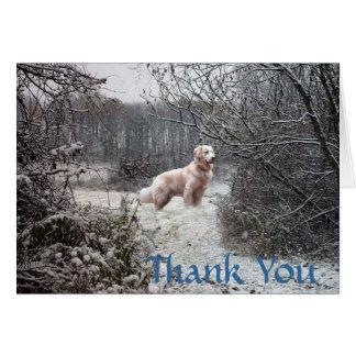 Golden Retriever Thank You Card Snow