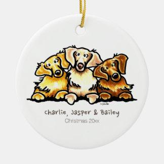 Golden Retriever Trio Personalized Ceramic Ornament