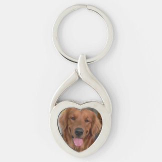Golden Retriever Twisted Heart Keychain