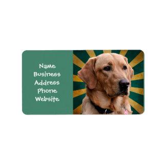 Golden Retriever Vintage Background Green Yellow Address Label