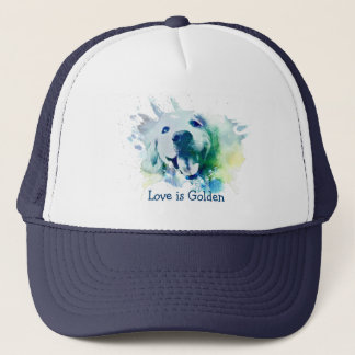 Golden Retriever Watercolor Splash Love is Golden Trucker Hat