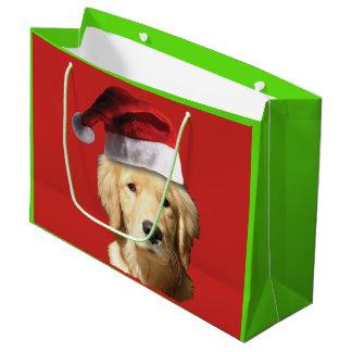Golden Retriever wearing a Santa Claus Hat Large Gift Bag