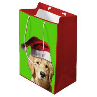 Golden Retriever Wearing a Santa Claus Hat Medium Gift Bag