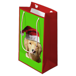 Golden Retriever Wearing a Santa Claus Hat Small Gift Bag