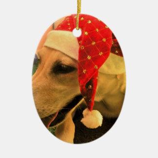 Golden Retriever Wearing Christmas Hat Ceramic Oval Decoration