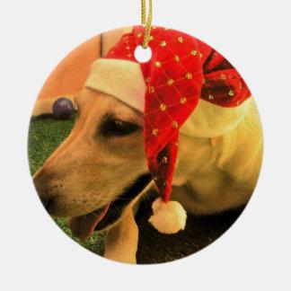 Golden Retriever Wearing Christmas Hat Round Ceramic Decoration