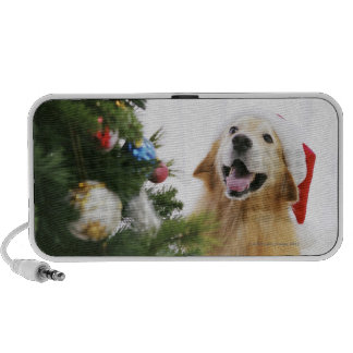 Golden retriever which watches Christmas tree Notebook Speakers