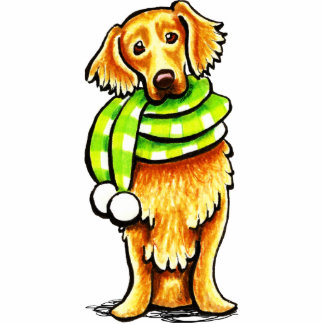 Golden Retriever Winter Scarf Photo Sculpture Magnet