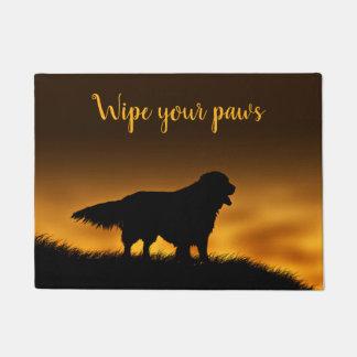 Golden retriever wipe your paws doormat