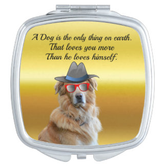 Golden retriever with a hat red glasses Dog Quote Vanity Mirror