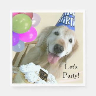 Golden Retriever With Cake and Balloons Birthday Disposable Serviette