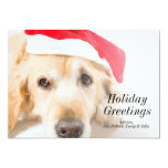 Golden Retriever With Christmas Hat 13 Cm X 18 Cm Invitation Card