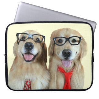 Golden Retriever With Nerd Glasses Laptop Sleeve