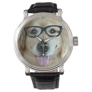 Golden Retriever With Nerd Glasses Watches