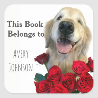 Golden Retriever With Roses Personalized Bookplate Square Sticker
