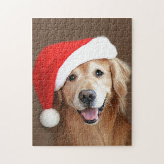 Golden Retriever With Santa Hat Jigsaw Puzzle