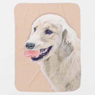 Golden Retriever with Tennis Ball Painting Dog Art Baby Blanket