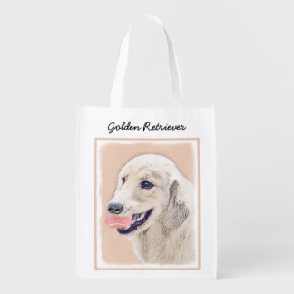 Golden Retriever with Tennis Ball Painting Dog Art Reusable Grocery Bag
