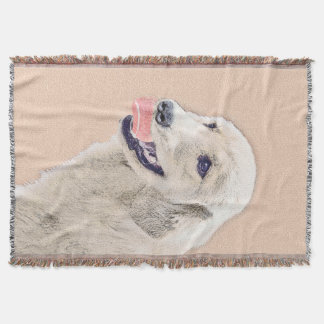 Golden Retriever with Tennis Ball Painting Dog Art Throw Blanket