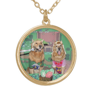 Golden Retriever Zelda and Link Gold Plated Necklace