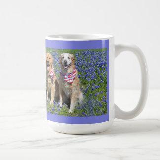 Golden Retrievers Blue Bonnet Mug