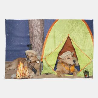 Golden Retrievers Camping Tea Towel