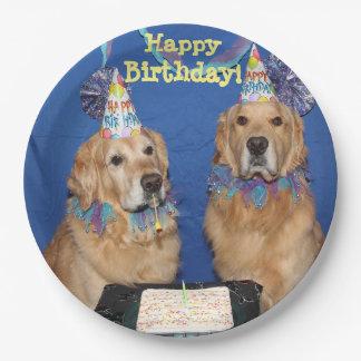 Golden Retrievers Happy Birthday Cake 9 Inch Paper Plate