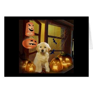Golden Retriver Puppy Halloween Greeting Card