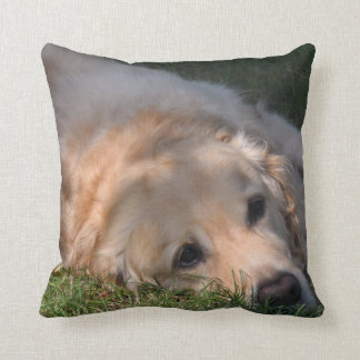 Golden Retriver Resting in the Grass Photo Cushion