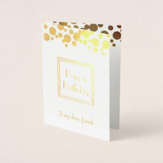 golden retro confetti - happy birthday foil card