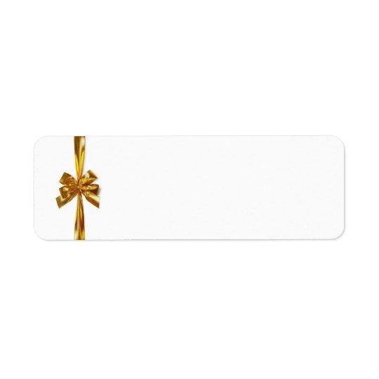 Golden Ribbon With Bow On White Background Return Address Label