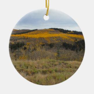 Golden Ridge of Aspen Round Ceramic Decoration