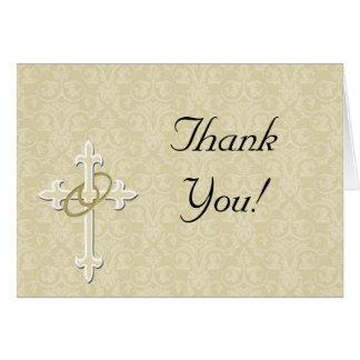 Golden Rings with Cross, Elegant Christian Love Card