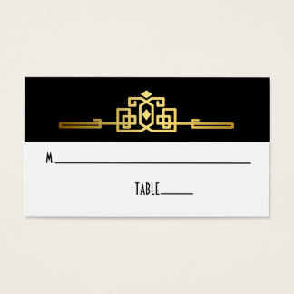 Golden Romance Art Deco Place Card