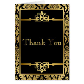 Golden RomanceArt DecoThank You Note Card