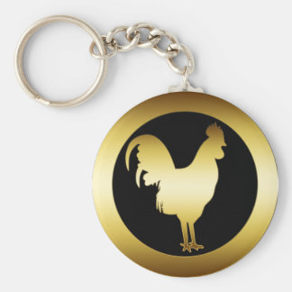 GOLDEN ROOSTER BASIC ROUND BUTTON KEY RING