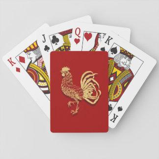 Golden Rooster Design on Red Poker Deck