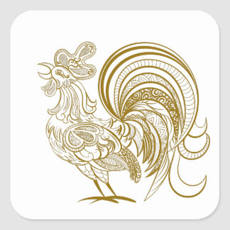 Golden Rooster Square Sticker
