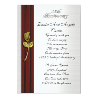 Golden rose, 25th Anniversary vow renewal 13 Cm X 18 Cm Invitation Card