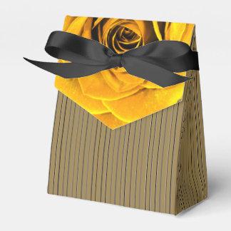 Golden Rose accent Black Striped Motif Favour Box