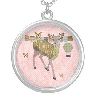 Golden Rose Deer & Butterflies Pink Necklace