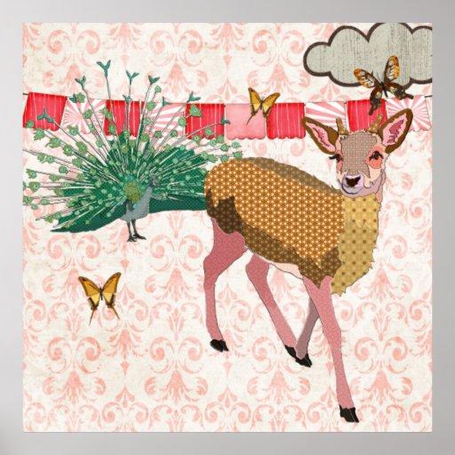 Golden Rose Deer & Peacock Damask Poster