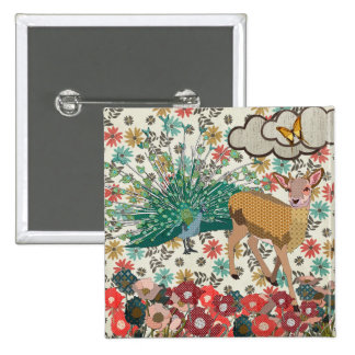 Golden Rose Deer & Peacock Floral Button