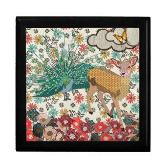 Golden Rose Deer & Peacock Floral Gift Box