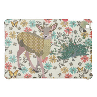 Golden Rose Deer & Peacock Floral iPad Mini Covers
