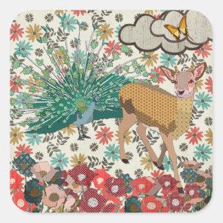Golden Rose Deer & Peacock Floral  Sticker