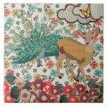 Golden Rose Deer & Peacock Floral Tile